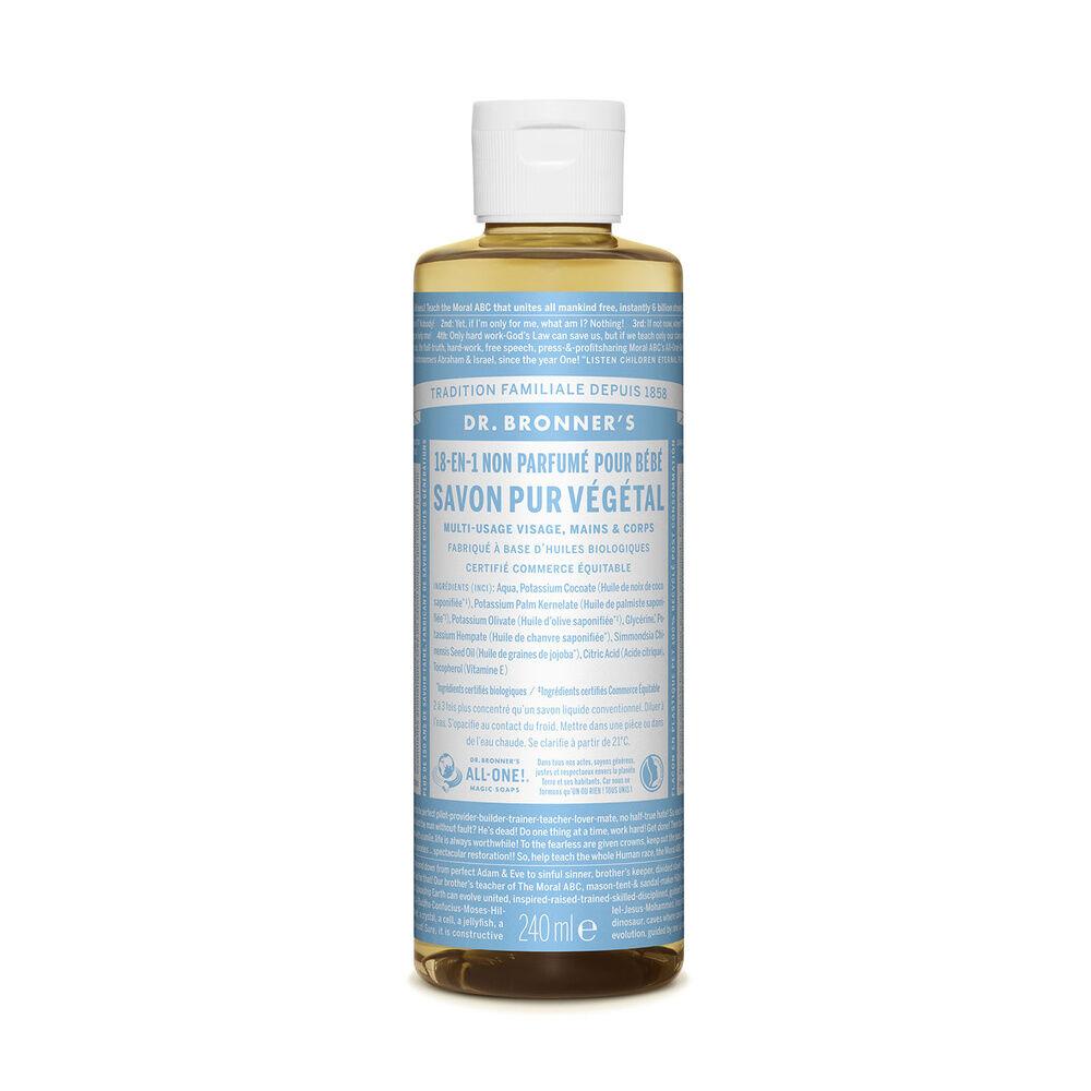 Dr Bronner's - Savon liquide non parfumé - 240ml Savon liquide