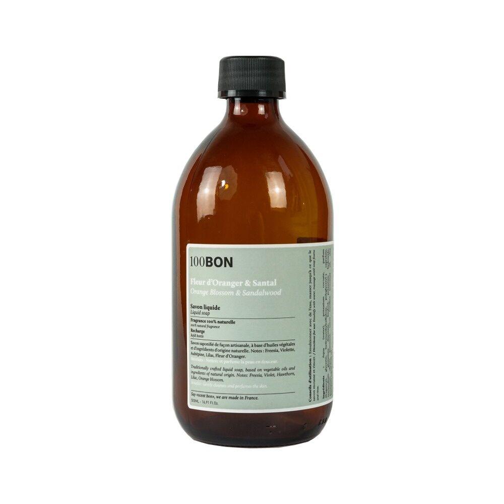 100Bon Bain et Savons Liquides FLEUR D'ORANGER ET SANTAL LIQUID SOAP RECHARGE 500ML