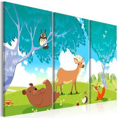Artgeist 90x60 - Tableau - Friendly Animals (3 Parts)