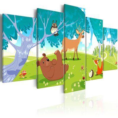 Artgeist 200x100 - Tableau - Friendly Animals (5 Parts)