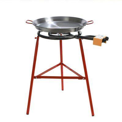 Red Deco Set paëlla grillades plancha PALMA noir acier réchaud 40cm + plat 50cm