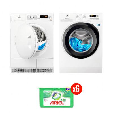 Electrolux Pack complet : lave-linge frontal + sèche-linge ELECTROLUX - 8 kg + 6 mois de lessive Ariel