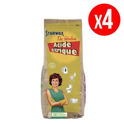 Starwax Fabulous Lot de 4 sacs d'acide citrique STARWAX FABULOUS - détartrant & anti-rouille - 4 x 1 kg