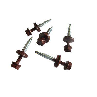 Mccover kit de 50 VIS AUTOPERCEUSES (4,9 x 35 mm) + 50 rondelles d'étanchéité pour panneaux tuiles facile Brun rouge mat, L : 3.5 cm