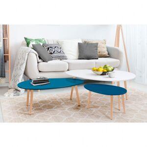 Inari Ensemble de 3 tables basses gigognes LUNA - blanc & bleu