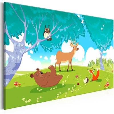 Artgeist 90x60 - Tableau - Friendly Animals (1 Part) Wide