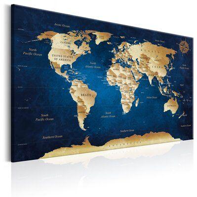 Artgeist 60x40 - Tableau - World Map: The Dark Blue Depths