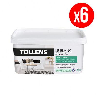 Tollens Lot de 6 pots de peinture BLANC&VOUS; bicouche Satin - toutes pièces - 6 x 5 L - blanc lumineux
