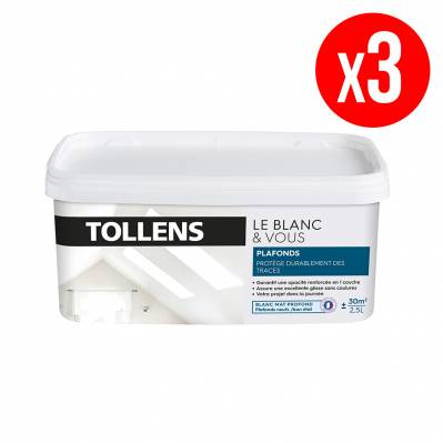 Tollens Lot de 3 pots de peinture BLANC&VOUS; monocouche Mat - plafonds - 3 x 2,5 L - blanc
