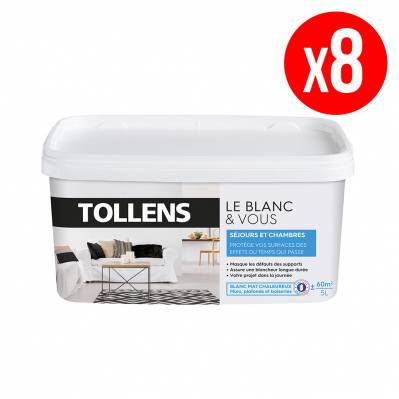 Tollens Lot de 8 pots de peinture BLANC&VOUS; bicouche Mat - séjours & chambres - 8 x 5 L - blanc chaleureux