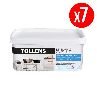 Tollens Lot de 7 pots de peinture BLANC&VOUS; bicouche Mat - séjours & chambres - 7 x 2,5 L - blanc chaleureux