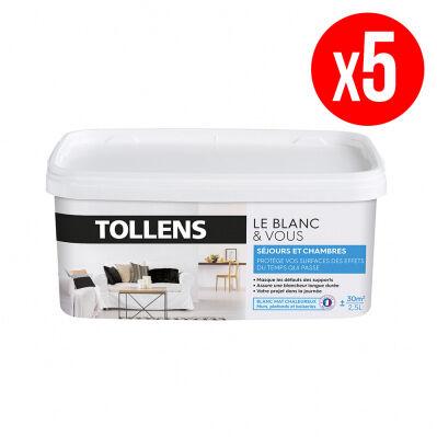 Tollens Lot de 5 pots de peinture BLANC&VOUS; bicouche Mat - séjours & chambres - 5 x 2,5 L - blanc chaleureux