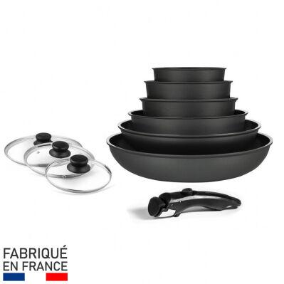 Arthur Martin Batterie de cuisine - 10 pièces - manche amovible + couvercles verre - noir