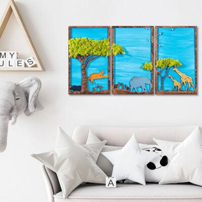 Wallity Décoration murale en bois - 94 x 48 cm - Forests animals