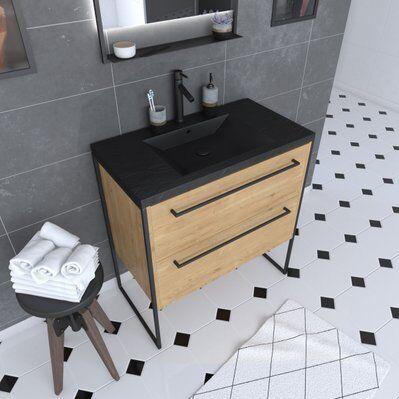 Aurlane Meuble de salle de bain 80x50cm chêne brun - 2 tiroirs chêne brun- vasque résine noire effet pierre