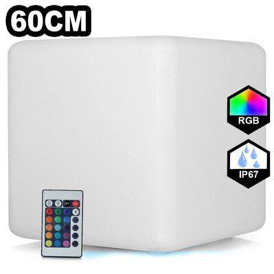 Europalamp Cube LED Lumineux Multicolore 60CM Rechargeable Sans Fil