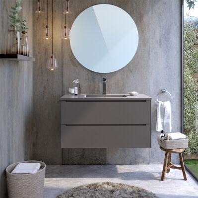 Bobochic Ensemble simple vasque 100 cm IKON - 2 tiroirs + miroir - gris clair