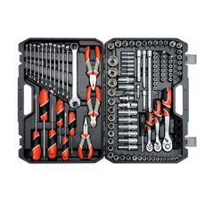 Yato Coffret clés à cliquet 1/2, 1/4 , 3/8 avec douilles, pinces tournevis et clés mixtes - 129 pièces