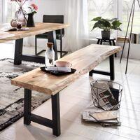 Tables Massives Industrielles Banc Tristan - 160 x 45 x 38 cm - pieds 'carrés' - chêne massif <br /><b>459.99 EUR</b> Bricoprive.com