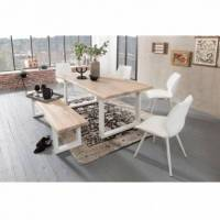 Tables Massives Industrielles Banc Tristan - 160 x 45 x 38 cm - pieds 'U' blanc - chêne blanc <br /><b>429.99 EUR</b> Bricoprive.com