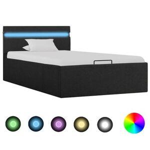 vidaXL Cadre de lit à stockage avec LED Gris foncé Tissu 90x200 cm - Publicité