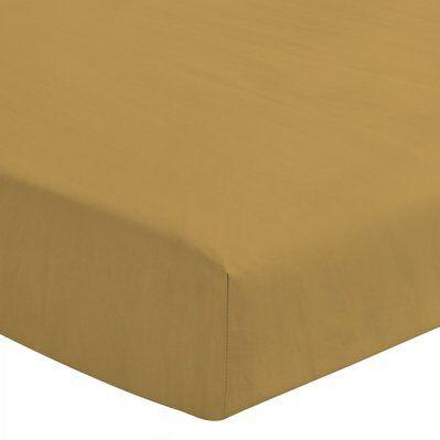 Le Clos Des Songes Drap housse uni 100% lin lavé - Bonnet 30cm - jaune - 140x190 cm