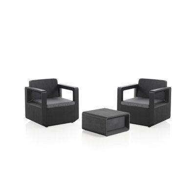Subleem Rio - Salon bas de jardin 2 places - en résine tressée injectée - noir avec coussins gris - Noir