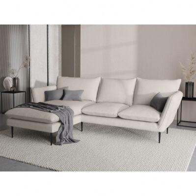 Mazzini Sofas Canapé d'angle VERVEINE - 5 places - en tissu - piètement noir chromé - beige - angle droit