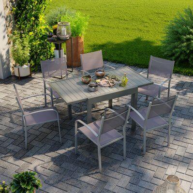 Avril Paris Table de jardin extensible aluminium 83/145cm + 6 fauteuils empilables textilène gris taupe - MILO