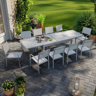 Avril Paris Table de jardin extensible aluminium 270cm + 10 fauteuils empilables textilène gris - LIO 10
