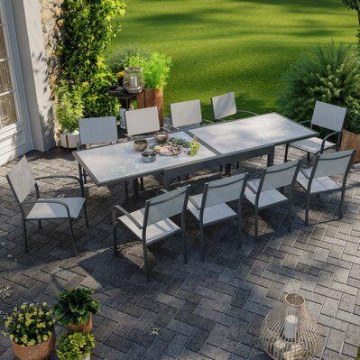 Avril Paris Table de jardin extensible aluminium 270cm + 10 fauteuils empilables textilène anthracite gris - LIO 10