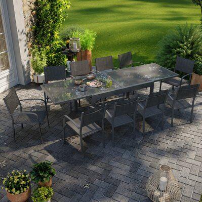 Avril Paris Table de jardin extensible aluminium 270cm + 10 fauteuils empilables textilène anthracite - LIO 10