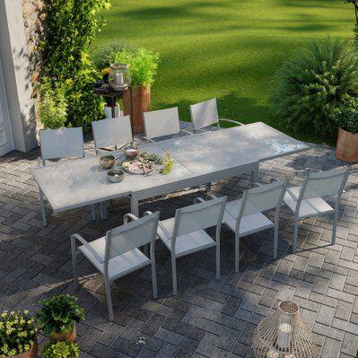 Avril Paris Table de jardin extensible aluminium 270cm + 8 fauteuils empilables textilène gris - LIO 8