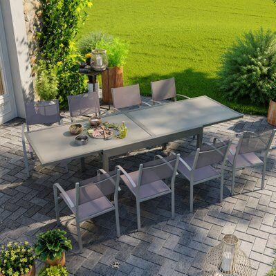 Avril Paris Table de jardin extensible aluminium 270cm + 8 fauteuils empilables textilène gris taupe - LIO 8