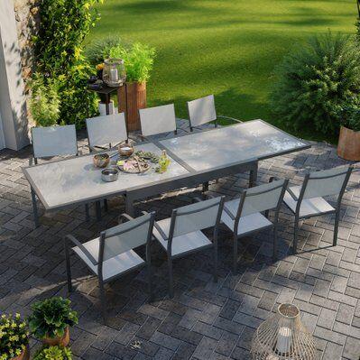 Avril Paris Table de jardin extensible aluminium 270cm + 8 fauteuils empilables textilène anthracite gris - LIO 8