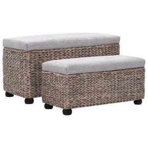 Helloshop26 Banquette pouf tabouret meuble banc 2 pcs jacinthe d'eau gris 3002178 - Publicité