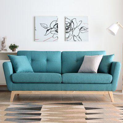 Concept Usine Hoga Vert : Canapé scandinave 3 places vert + 2 coussins