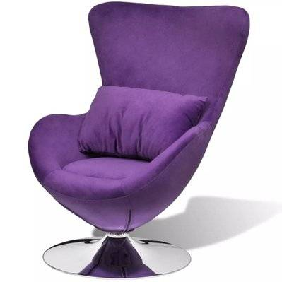Helloshop26 Fauteuil chaise siège lounge design club sofa salon en forme d'œuf avec coussin petit 1102058/3