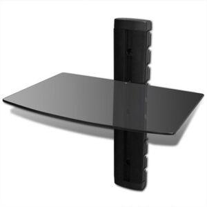 Helloshop26 Meuble télé tv télévision design pratique étagère murale noire 1 tablette pour dvd 2502295 - Publicité
