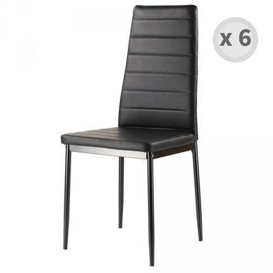 Moloo ANNA-chaise de salle à manger PU noir pied noir (x6)