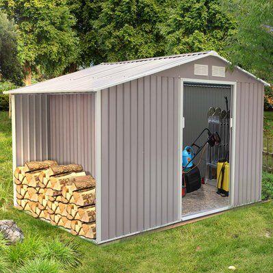 Concept Usine Ventoux 8.72 m² : abri de jardin avec abri bûches en acier anti-corrosion gris