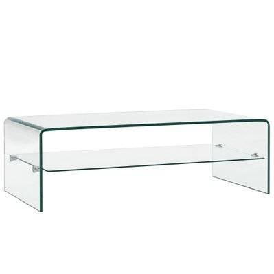 vidaXL Table basse Clair 98 x 45 x 31 cm Verre trempé