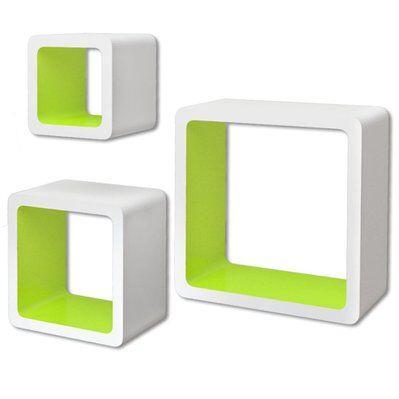 Helloshop26 Étagère armoire meuble design 3 cubes murales et en mdf blanc-vert pour livres/dvd 2702097/2