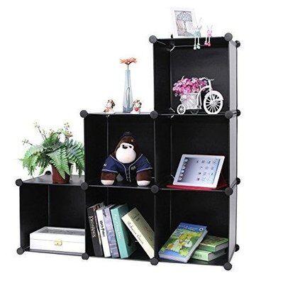 Helloshop26 Armoire étagère rangement montage simple système enfichable 6 compartiments noir 2012047