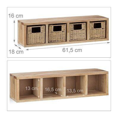 Helloshop26 Etagere 4 cubes rangement panier amovible bois 61,5 cm 2713001