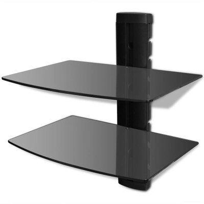 Helloshop26 Meuble télé buffet tv télévision design pratique étagère murale noire à 2 tablettes en verre pour dvd 2502016