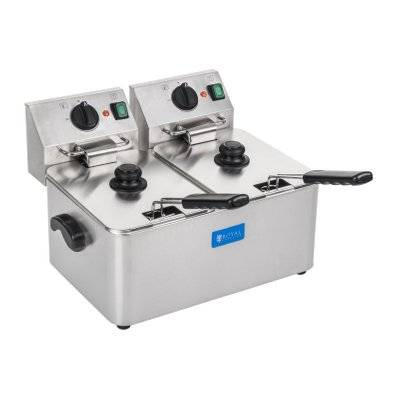 Helloshop26 Friteuse acier inox 2 bacs 8 litres cuve amovible professionnel thermostat EGO professionnelle 3614016