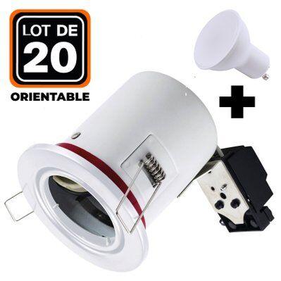 Europalamp Lot 20 Spots BBC Orientable Blanc + Ampoule GU10 5W Blanc Froid + Douille