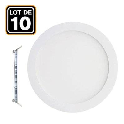 Europalamp 10 Spot Encastrable LED 12W Rond Extra-Plat Blanc Froid 6000K