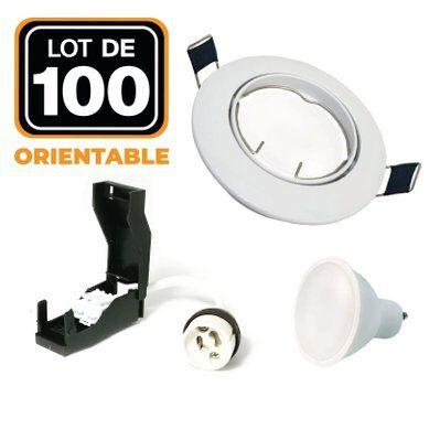 Europalamp 100 Spots encastrable orientable BLANC avec GU10 LED de 7W eqv. 56W Blanc Chaud 3000K
